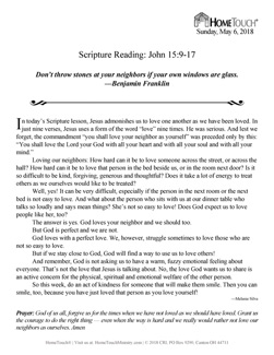Homebound ministry Devotional Page sample
